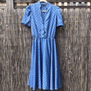 Dresses & Skirts - Sky Blue Black Vintage Midi Circle Skirt Dress  L